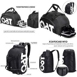 Gym Bag SMALL Travel Duffle Backpack W Shoe Compartment For