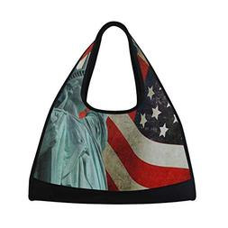 Gym Bag Statue Of Liberty With American Flag United States W