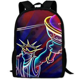 Markui Adult Travel Hiking Laptop Backpack Statue Liberty Dr