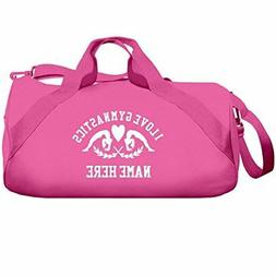 I Love Gymnastics Custom Name Gift: Liberty Barrel Duffel Ba