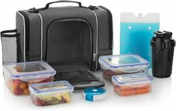 Large Insulated Lunch Bag With 4 Food Containers, Medicine/S