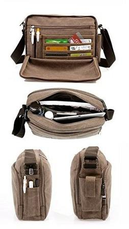 Kenox Classic Multifunctional Mens Canvas Messenger Bag Cros