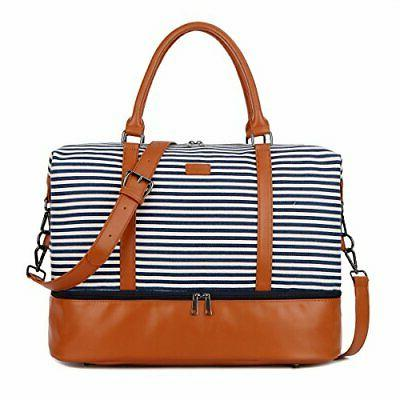 Blue BAOSHA HB-28 Ladies Women Canvas Travel Weekender Overnight Carry-on Shoulder Duffel Tote Bag With PU Leather Strap