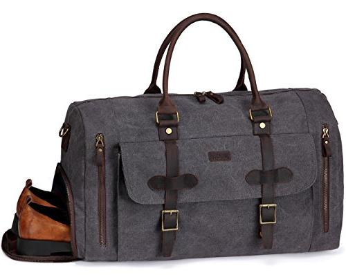 50fced94ee6c Large Duffel Bag,Vaschy Leather Canvas Duffle Tote