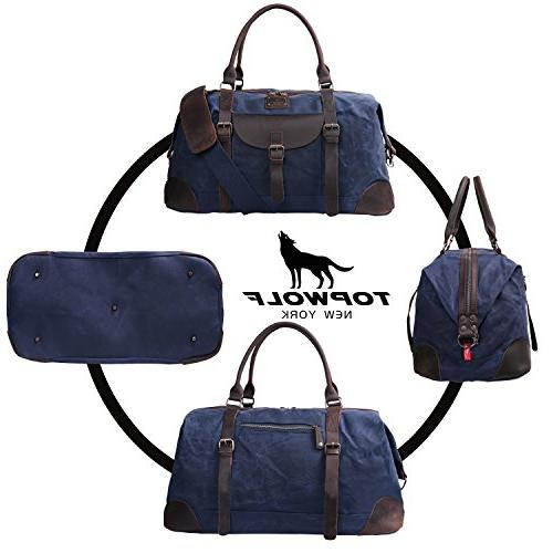 Canvas Duffel Bag TOPWOLFS 22 Travel Duffle Bag Tote Large Holdall Luggage Carry On Weekender Bag Waterproof Waxed Canvas