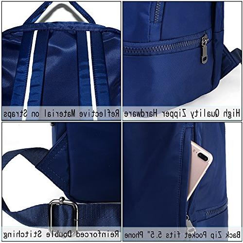 UTO Nylon Multi Rucksack School Gym Bag Purse with 3M Reflective Blue