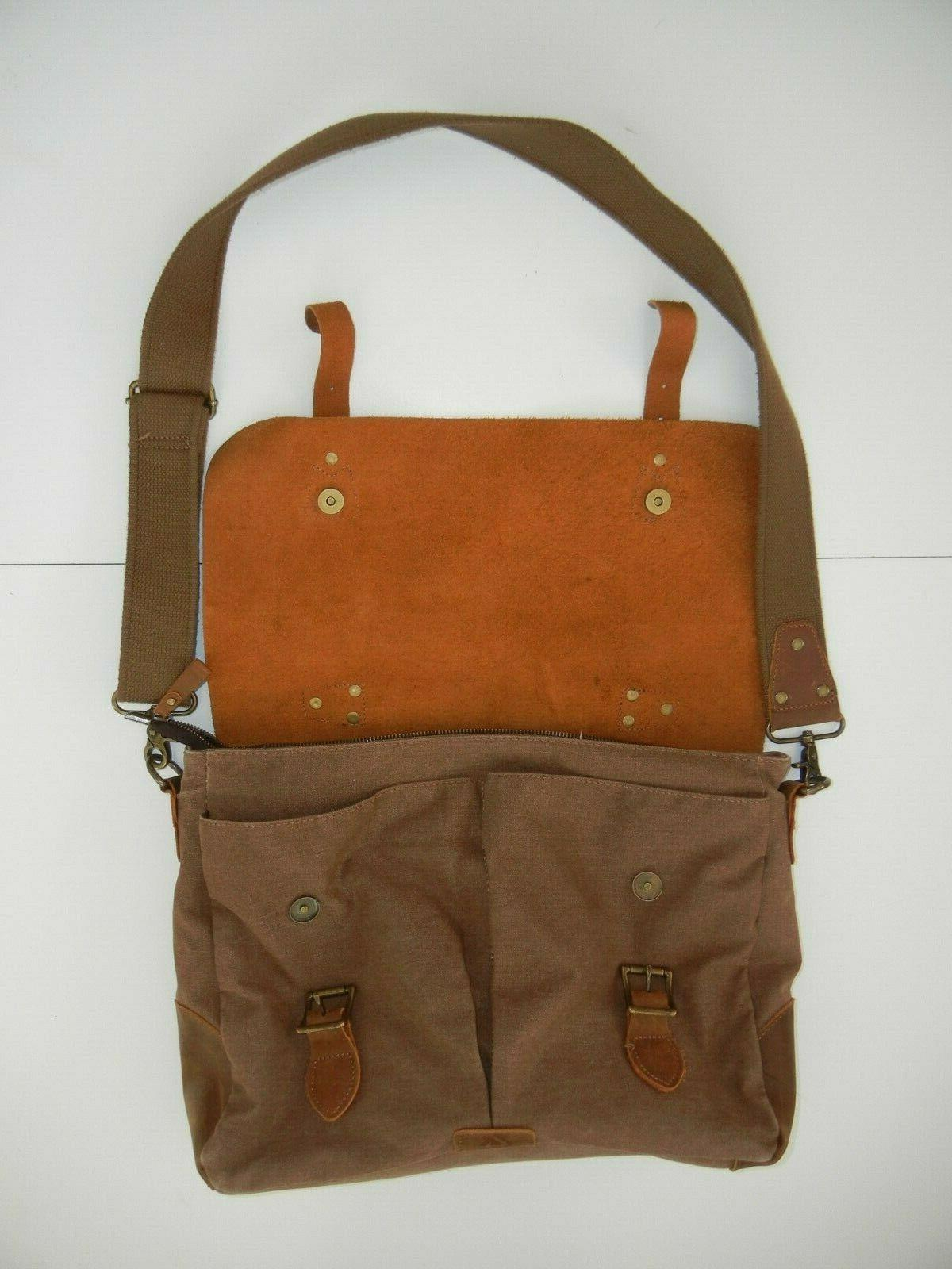 LONG FORTH Brown Canvas LEATHER Quality Shoulder School