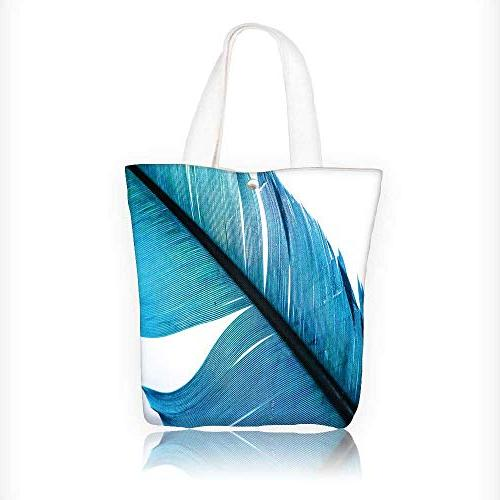 canvas tote bags blue feather