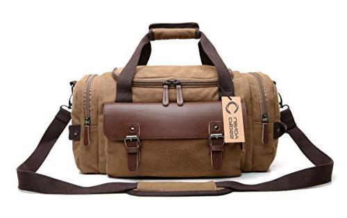 CrossLandy Canvas for Leather Overnight Travel on Sports Tote Bags