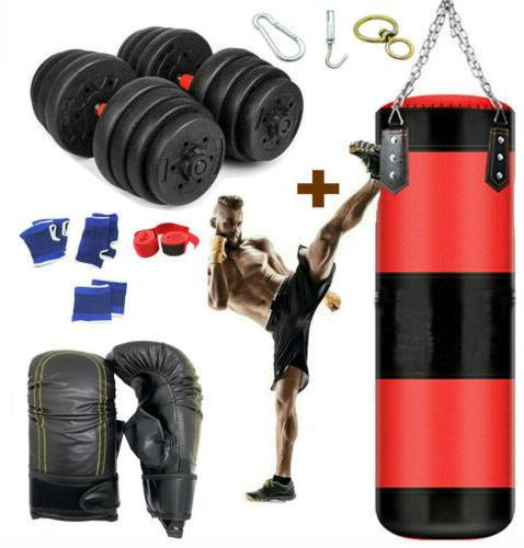 heavy punching bag gloves and chain boxing