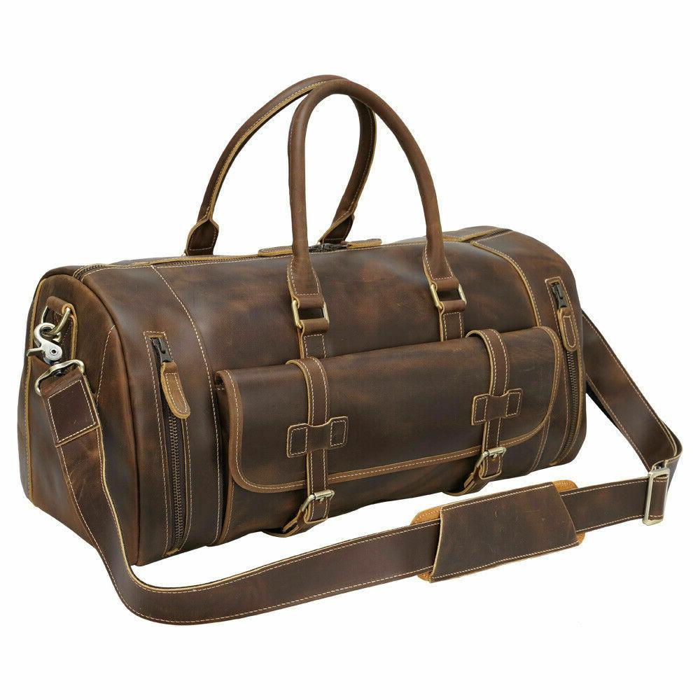men real leather travel bag luggage duffle