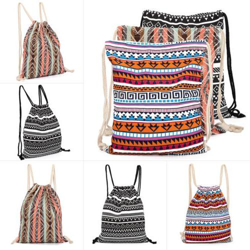 Drawstring Backpack Cinch Sack Gym Tote Bag School Sport Gym