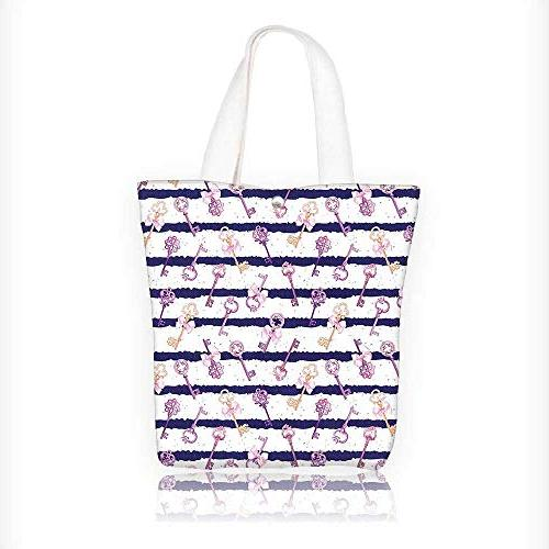 c026bff0a790 Stylish Canvas Zippered Tote Bag Keys with Ribbons
