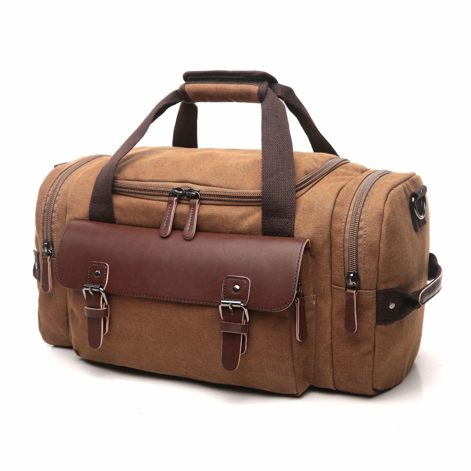 Leather Canvas Bag Tote Carry Luggage