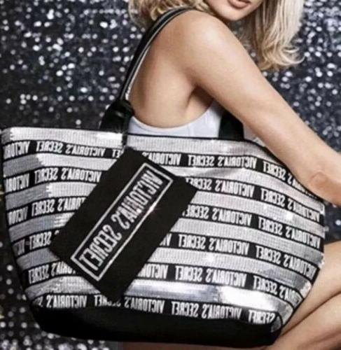 VICTORIA/'S SECRET LARGE BLACK SILVER JET SET SEQUIN BEACH GYM TOTE BAG WRISTLET