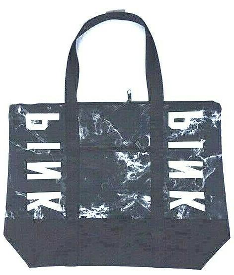 victorias secret pink tote black white marble