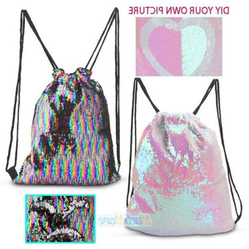 Sequin Drawstring Backpack Gym Dance Bags for Girls Kids Wom