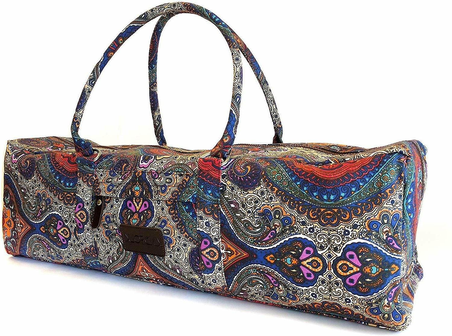 Kindfolk Yoga Mat Duffle Bag Patterned Canvas with Pocket an