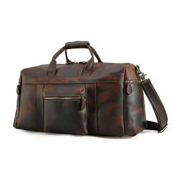 Large Men's Real Leather Travel Luggage Duffle Gym Overnight