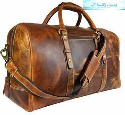 Leather Travel Duffle Bag | Gym Sports Airplane Luggage Carr
