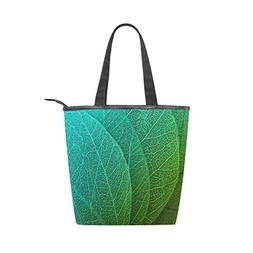 LORVIES Macro Leaves Background Canvas Tote Bag Zippered Sho