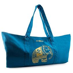 Peace Yoga Blue Yoga Mat Carrier Tote Bag with Adjustable