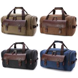 Men Large Canvas Leather Travel Bag Duffle Tote Handbag Shou