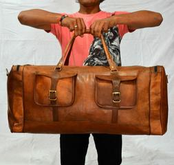 Men's Leather Large Travel Duffel Overnight Duffel Luggage G