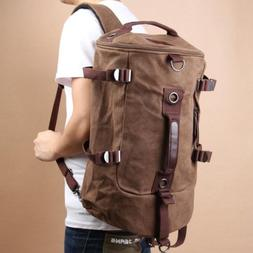 Men's Retro Luggage Canvas Duffel Backpack Camping Travel Gy