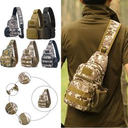 Mens Camo Tactical Sling Chest Bag Military Pack Bottle Pock