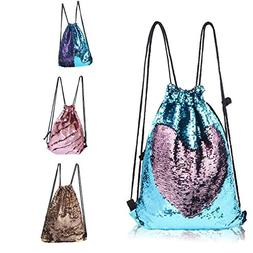 CHANNON Mermaid Drawstring Bag, Magic Reversible Sequin Back