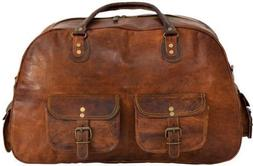 New Genuine SOFT Leather Vintage Duffle Travel Weekend Overn