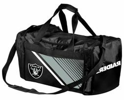 NFL Oakland Raiders Striped Core Duffle Bag, Medium, Black
