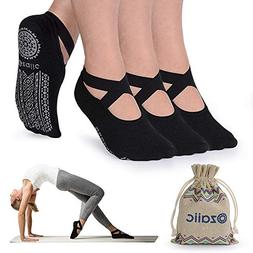 Ozaiic Non Slip Yoga Socks for Pilates Barre Ballet Dance, A