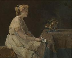 Oil Painting 'Alfred Stevens The Present ' Printing On Perfe