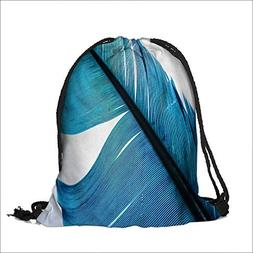 printing Drawstring Gift Bag blue feather macro isolated for
