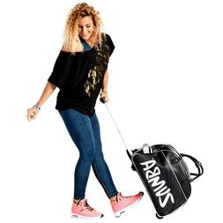 ZUMBA Retro Rock N' Rolling Gym Bag Duffle ROOMY! Black/Silv