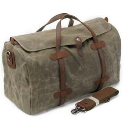 S-ZONE Waterproof Waxed Canvas Leather Trim Travel Tote Duff