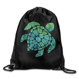 Sea Turtle Drawstring Backpack Bag Beam Mouth Gym Sack Rucks