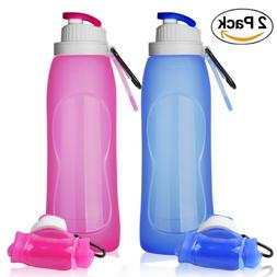 TURN RAISE Silicone Hiking Water Bottle, Set of 2 Pack