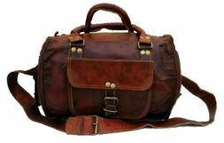 Handmade Soft Leather Duffel Weekend Overnight Travel Bag Gy