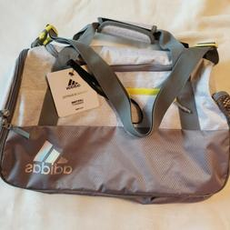 adidas Squad Duffel Bag, White Jersey/Grey/Shock Yellow, One