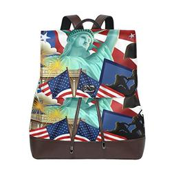 Statue Of Liberty Flag Women's Genuine Leather Backpack Book