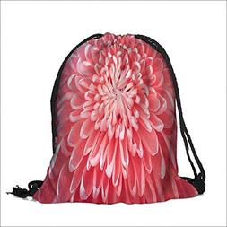 Storage Bag Pink Macro graph of Carnation Detail Close up Fr