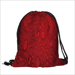 Storage Bag Red rose with lots of water drops Macro Machine