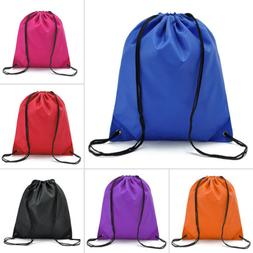 String Drawstring Back Pack Cinch Sack Gym Tote Bag School S