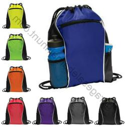 String Drawstring Backpack Cinch Sack Gym Tote Bag School Sp