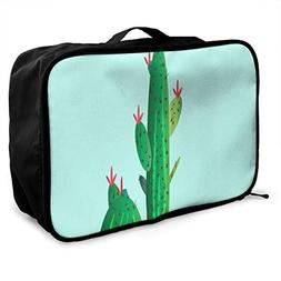 Travel Bags Cartoon Cactus Flower Portable Tote Trolley Hand