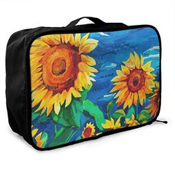 Travel Bags Sunflower Painting Portable Handbag Trolley Hand