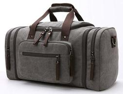 Travel Duffel Bag Leather Canvas Sports Gym Bag Tote Carry O